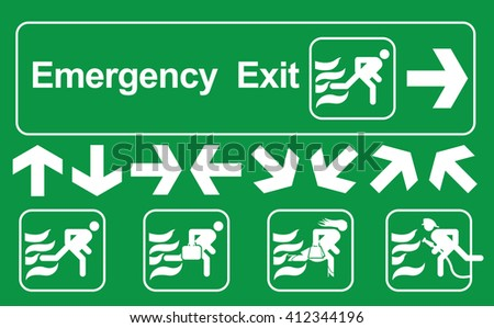 Set of white exit emergency sign on green background. - stock vector