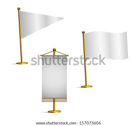 Set of white flags - stock vector