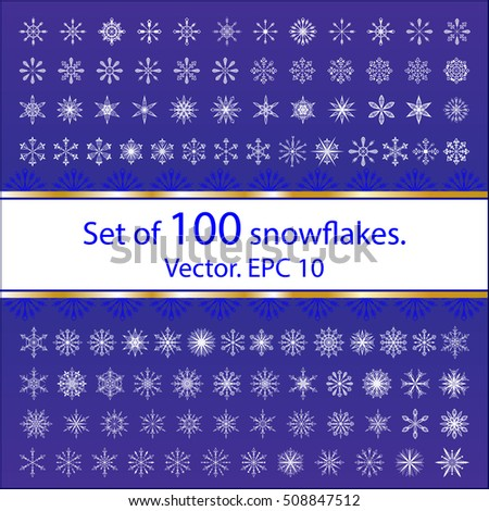 Set of 100 white flat snowflakes on a blue background. Geometrical, smooth and free form. The symbols, the signs of winter. A lot of snowflakes, background. Design for Christmas and new year. Vector