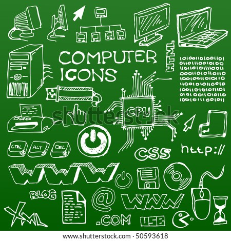 Set of white hand-drawn computer icons on green background - stock vector