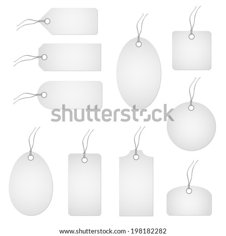 Set of white hangtags - stock vector