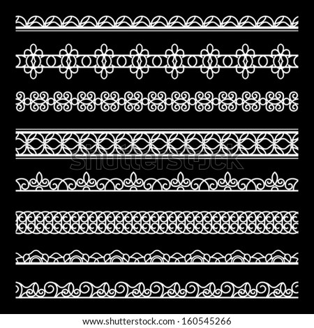 Set of white lace borders, ornamental dividers, vector lacy ribbons on black