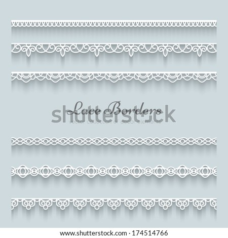 Set of white lace borders with shadow, ornamental paper lines, vector eps10 - stock vector
