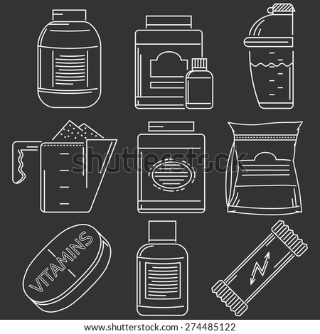 Set of white line vector icons with elements of sports nutrition on black background - stock vector