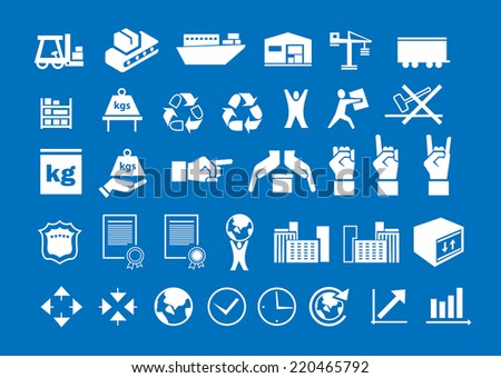 set of white logistic icons on blue background - stock vector