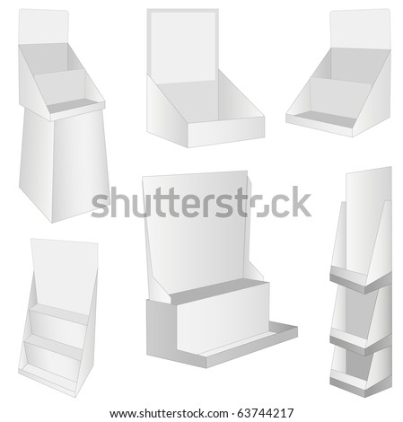 set of 6 white new display. vector illustration - stock vector