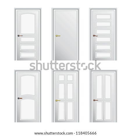 Set of 6 white painted profiled doors. Eps10 - stock vector