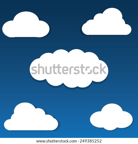 set of white paper clouds on the blue background