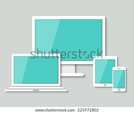 set of white paper computer laptop tablet and smartphone in flat design style. vector.