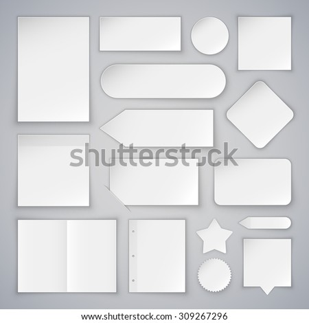 Set of White Paper Sheets Mock Ups and Banners - stock vector