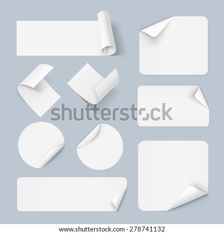 Set of white paper sticker form isolated on a background - stock vector