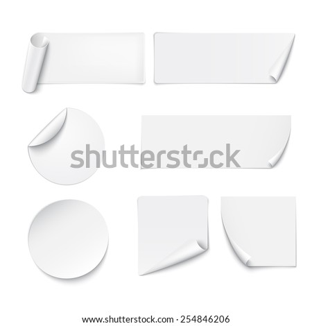 Set of white paper stickers on white background. Vector illustration - stock vector