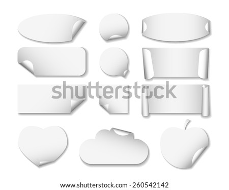Set 2 of white paper stickers on white background with shadows. Round, square, rectangular, ellipse, heart, cloud, apple - stock vector