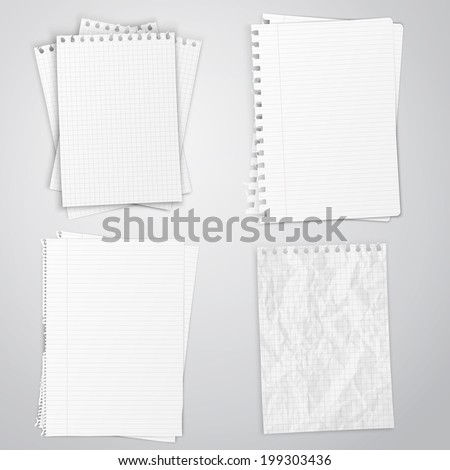 Set of white papers, vector illustration EPS10 - stock vector