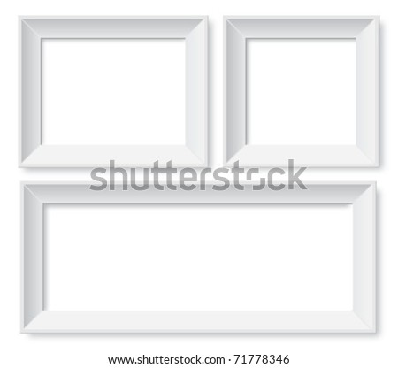Set of white photo frames - stock vector