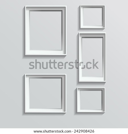 Set of white photo frames on grey background - stock vector
