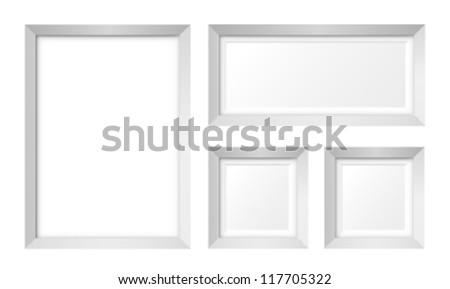 Set of white photo frames vector - stock vector