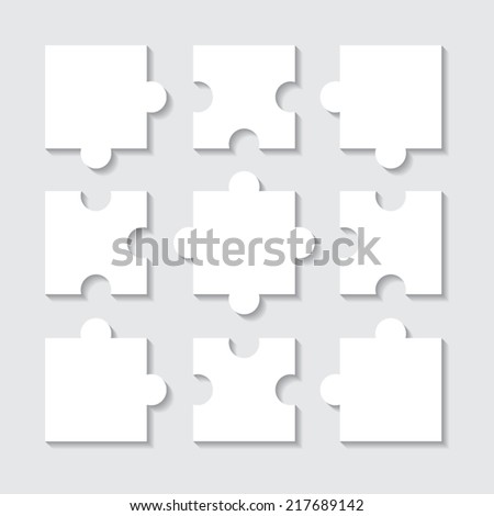 Set of  white puzzle parts on grey background.  Business concept, template, layout, infographics. - stock vector