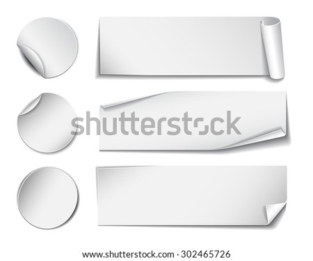 Set of white rectangular and round promotional paper stickers on white background. Vector illustration - stock vector