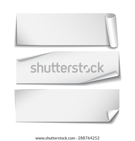 Set of white rectangular paper stickers on white background. Vector illustration - stock vector