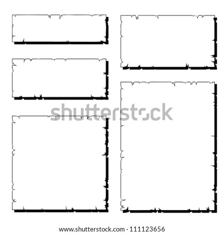 set of white ripped old paper frame with shadow - stock vector