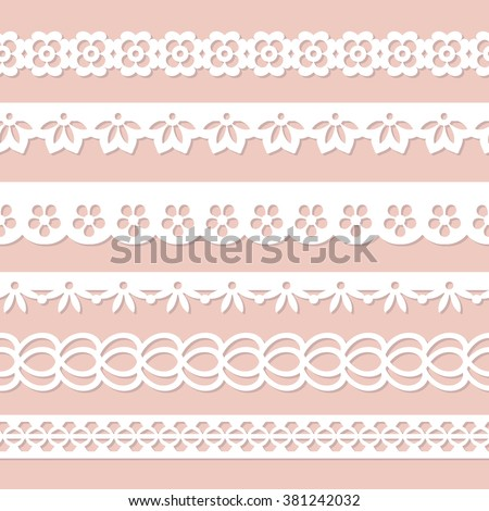 set of white seamless paper laces on the pink background - stock vector