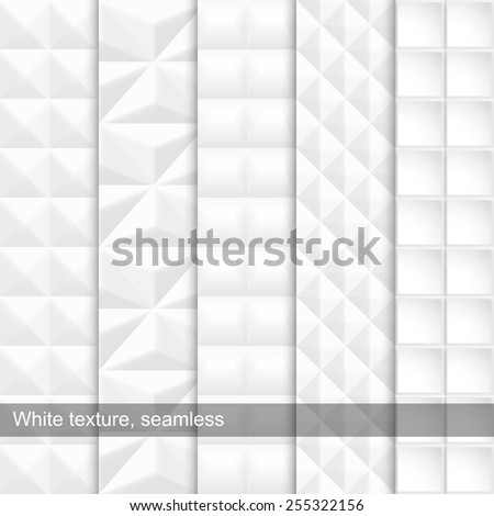 Set of white seamless texture. Vector - eps10 - stock vector