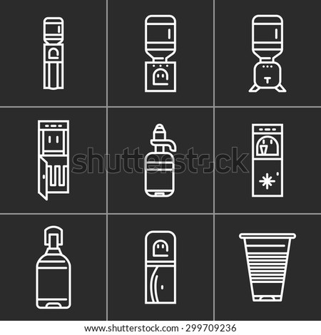 Set of white simple line vector icons for water cooler equipment on black background. Electric water cooler, purifier, water delivery, plastic bottles for office, home and business. - stock vector