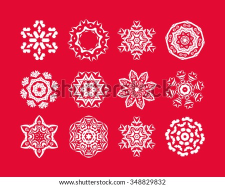 Set of  white snowflake on a red background. Christmas snowflakes. Holiday decorations.  - stock vector