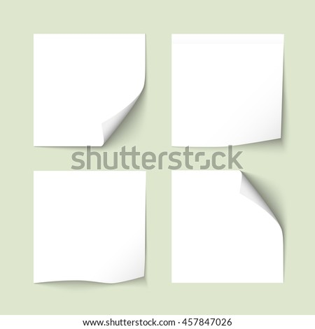Set of white sticky notes with shadows. Paper stickers, note post memo, labels. Vector design elements