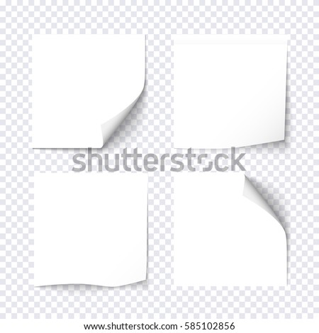 Set of white sticky on transparent background. Paper stickers, note post memo, labels. Vector design elements