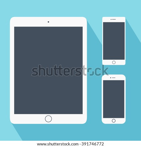 Set of white tablet PC and smartphones in flat style. Computer tablet. Tablet PC mock up. Mobile phone symbol. Electronic devices icon vector. Gadgets with blank screen. Perfect for application demo   - stock vector