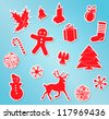 Set of White Vector Christmas Icons with shadows - stock vector