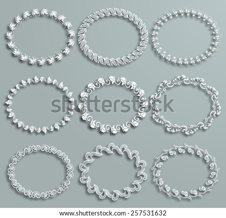 Set of white vector floral frames with shadows on the gray background. Vector illustration EPS10. - stock vector