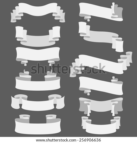 set of white vector ribbons, design elements - stock vector