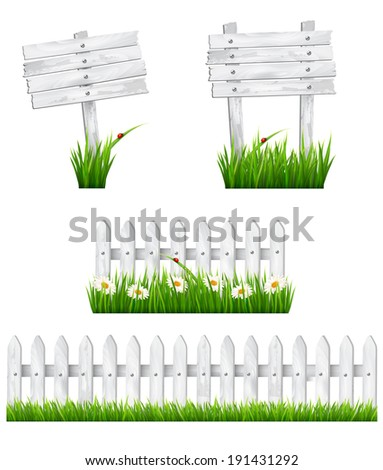 Set of white wooden signs and a fences with grass. Vector. - stock vector