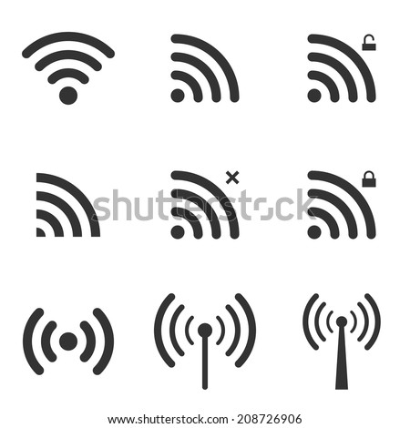 Set Of Wi-Fi And Wireless Icons. WiFi Zone Sign. Remote Access And Radio Waves Communication Symbols. Vector. - stock vector