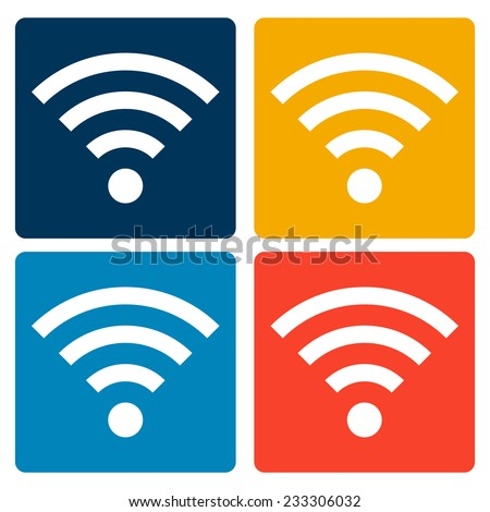 Set of Wi-Fi flat icons.  - stock vector
