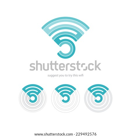 set of wifi connection icons and radio waves. vector web design  - stock vector