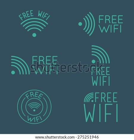 Set of wifi logos. - stock vector