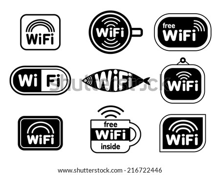 Set of wifi stickers - stock vector