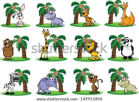 Set of wild and domestic animals - vector - stock vector