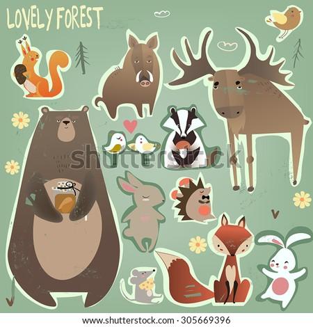set of wild animals - stock vector