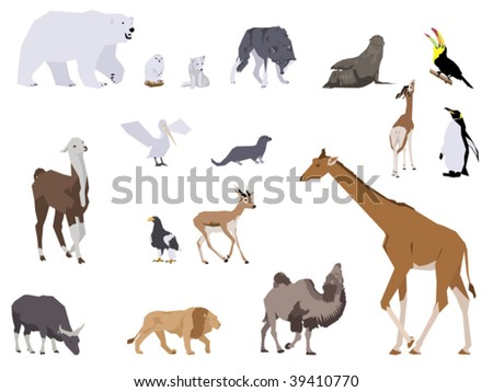 set of wild animals, collage style drawing - stock vector