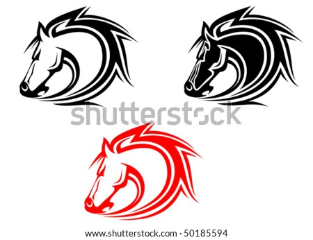 Set of wild mustang horses tattoos isolated on white or logo template - stock vector