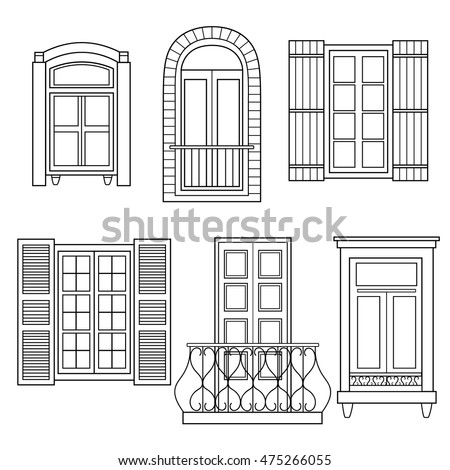 Set Windows Isolated Hand Drawn Icons Stock Vector 475266055 - Shutterstock