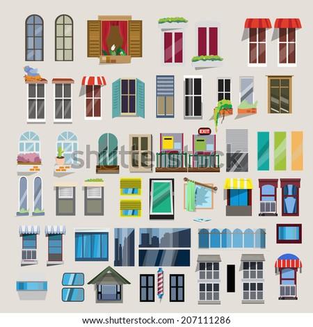 Set of windows - vector - stock vector