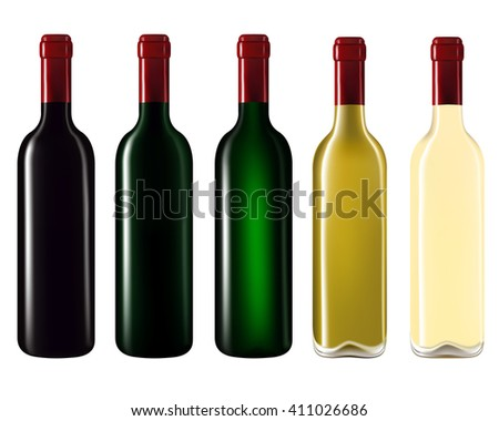 Set of wine bottles isolated on white background,Vector illustration
