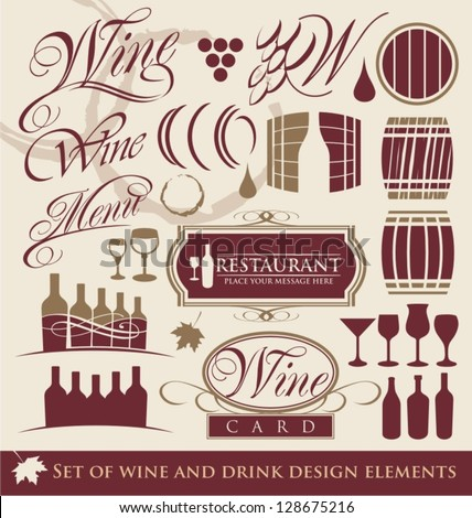 Set of wine design elements. Wine symbols, signs and icon collection. - stock vector