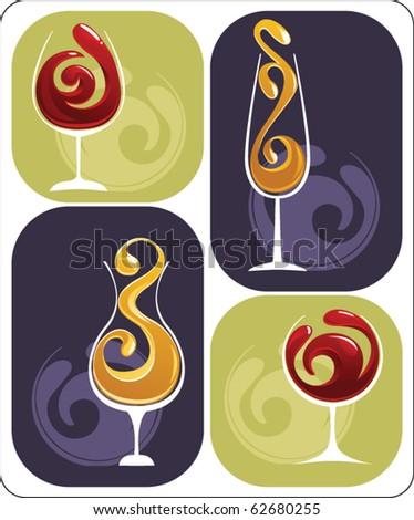 set of wine glasses - stock vector